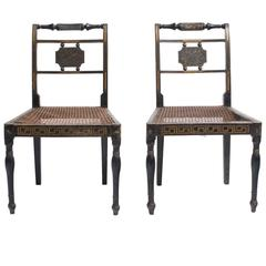Pair of 19th Century Greek Key Painted Side Chairs