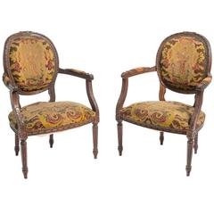 Pair of 1920s French Needlepoint Armchairs