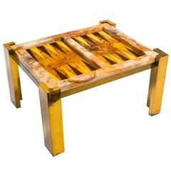 Onyx Backgammon Table on  Brass Base