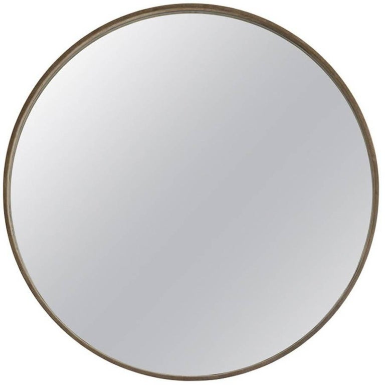 Large Basic Grey Suede Mirror by ASH NYC For Sale