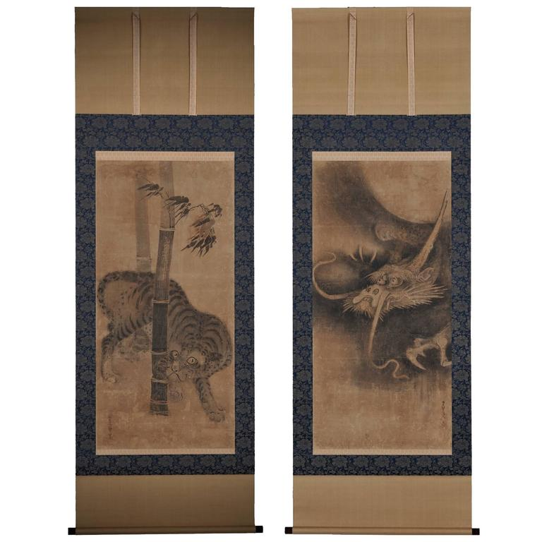 Soga Nichokuan 17th Century, Tiger and Dragon, Japanese Hanging Scroll, Pair