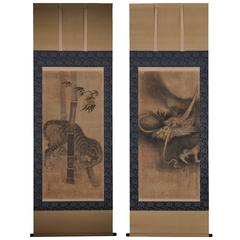 Soga Nichokuan 17th Century, Tiger and Dragon, Japanese Hanging Scroll, Pair