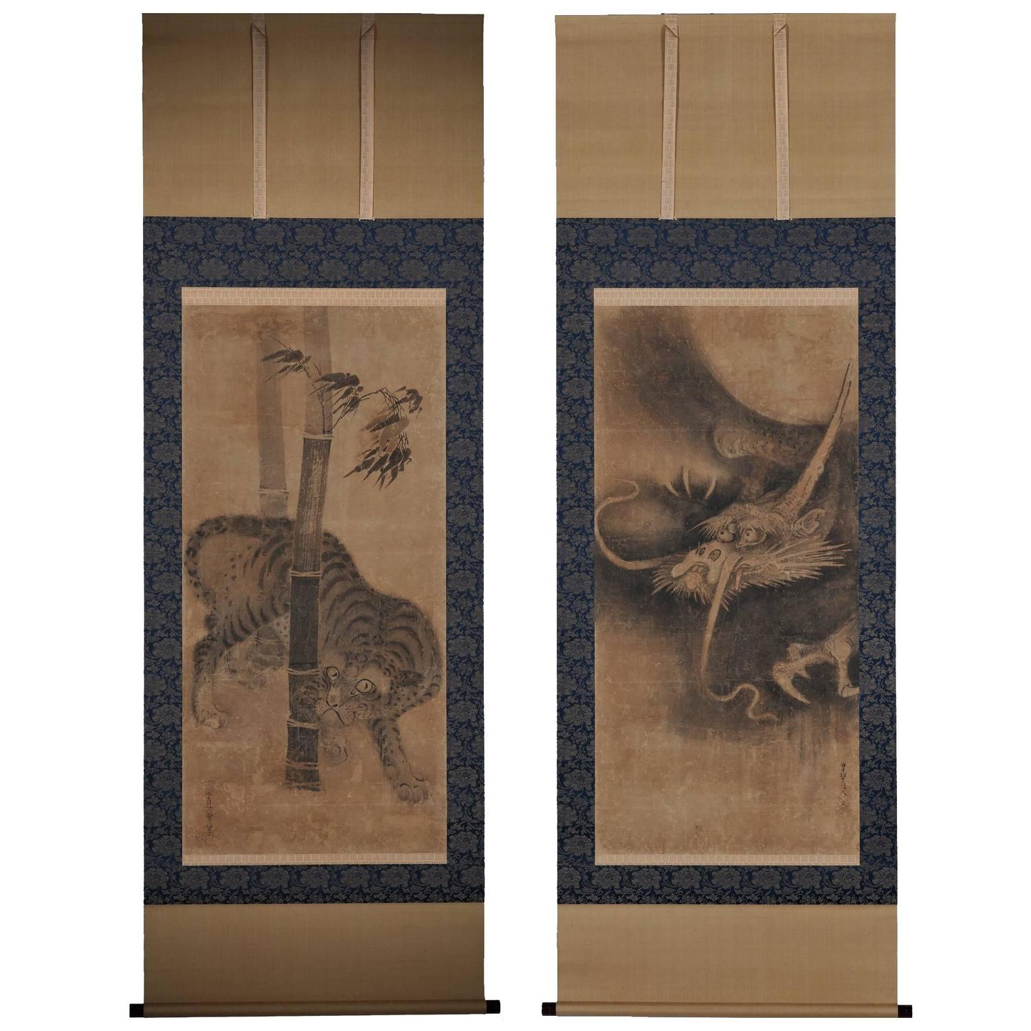 Antique japanese screens for sale - Soga Nichokuan 17th Century Tiger And Dragon Japanese Hanging Scroll Pair