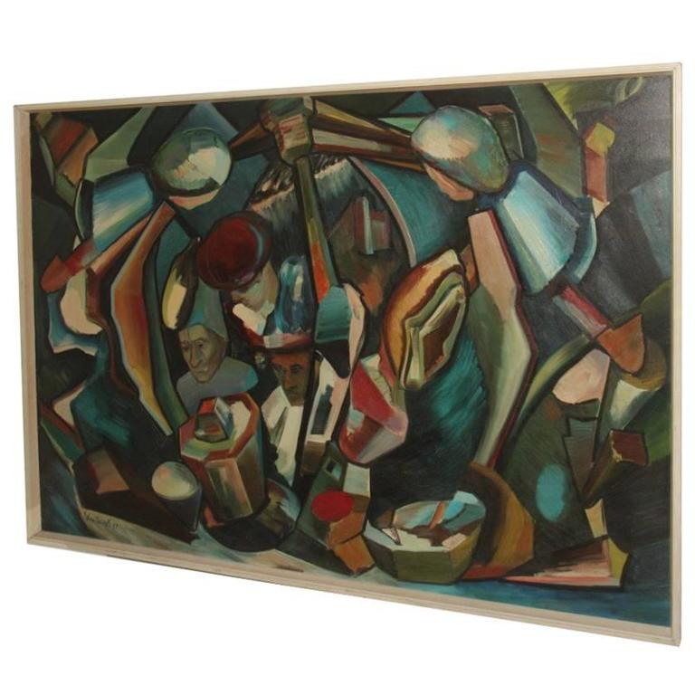 Abstract Oil On Canvas 1970 Cubist Design For Sale At 1stdibs