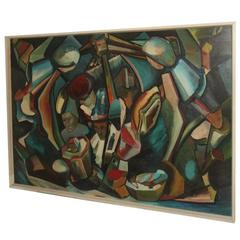 Abstract Oil on Canvas, 1970, Cubist Design Tomaselli Italian Artist Cubism