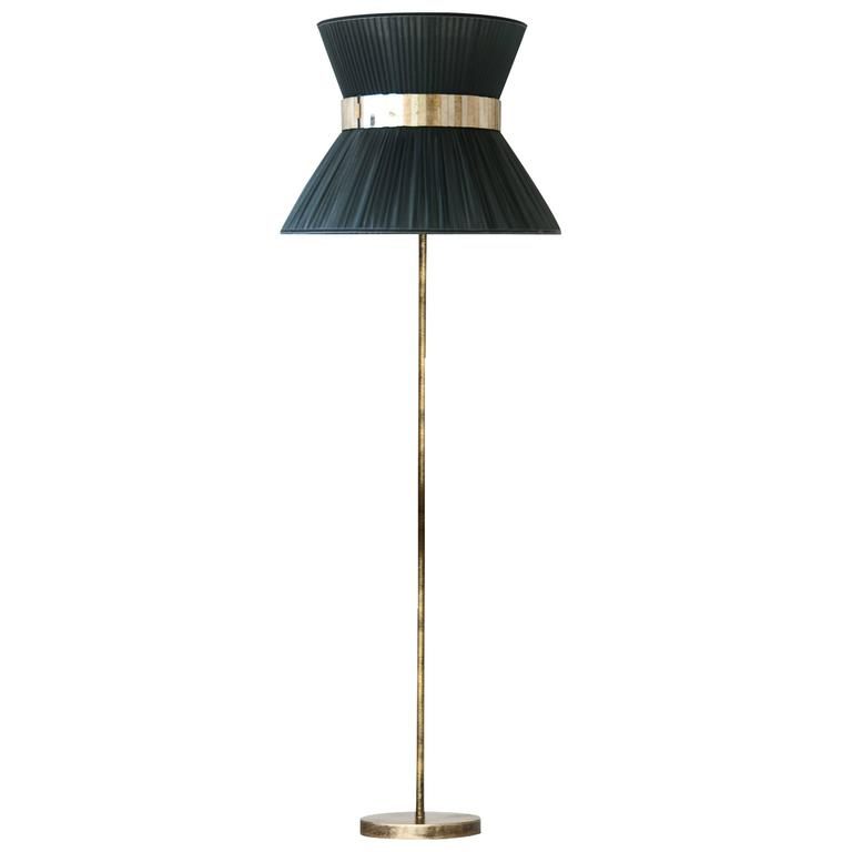 Tiffany floor lamp in grey silk antiqued brass silvered glass tiffany floor lamp in grey silk antiqued brass silvered glass handmade for aloadofball Image collections