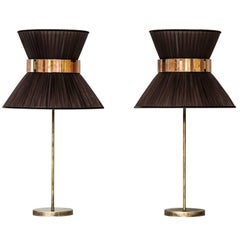 Tiffany contemporary table Lamp tobac Silk Antiqued Brass Silvered Glass