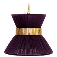 Tiffany contemporary bracket Wall Sconce purple Silk, Brass, Silvered Glass