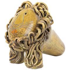 Signed Glazed Ceramic Lion, by Cau G. Bitossi & Figli, 2016