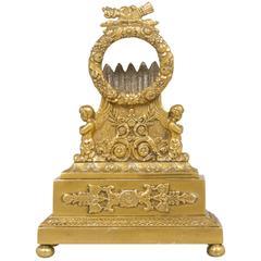Antique Brass Pocket Watch Holder with Angels
