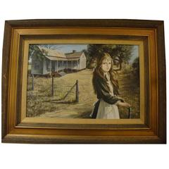 Rare Large Original Museum Painting of a Girl Outdoors Pati Bannister, 1929-2013