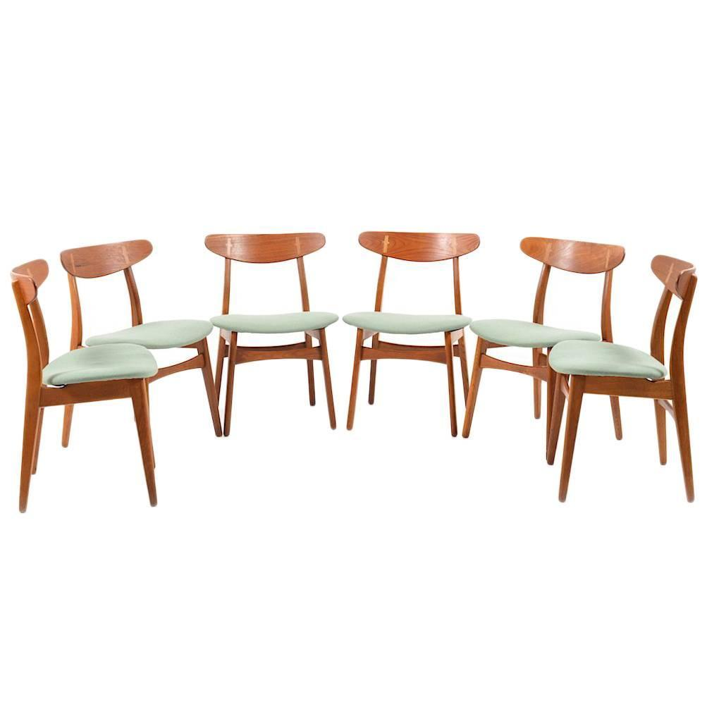 Set of Six Early Hans Wegner CH30 Chairs at 1stdibs