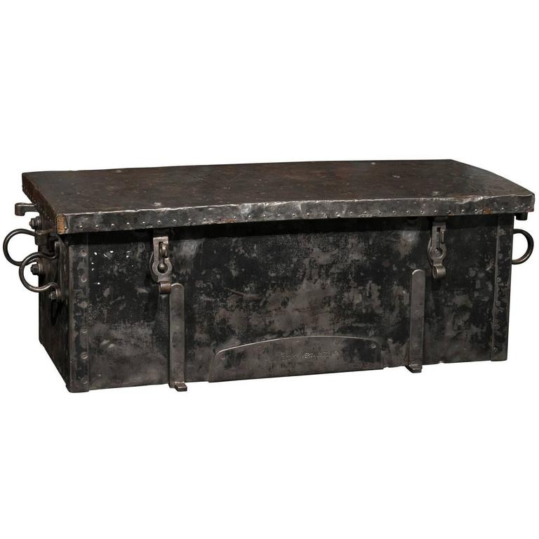 1874 versailles metal ammunition trunk perfect for coffee table use at 1stdibs Metal chest coffee table