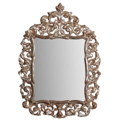 Ornately Carved Italian Mirror in Warm Bronze Color with Silver Accents