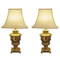 Good Quality Pair of American Frederick Cooper Campagna-Form Solid Brass Lamps