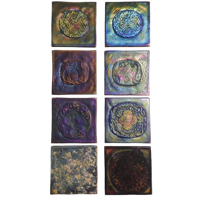 Set of 32 Early 20th Century Tiffany Tiles For Sale