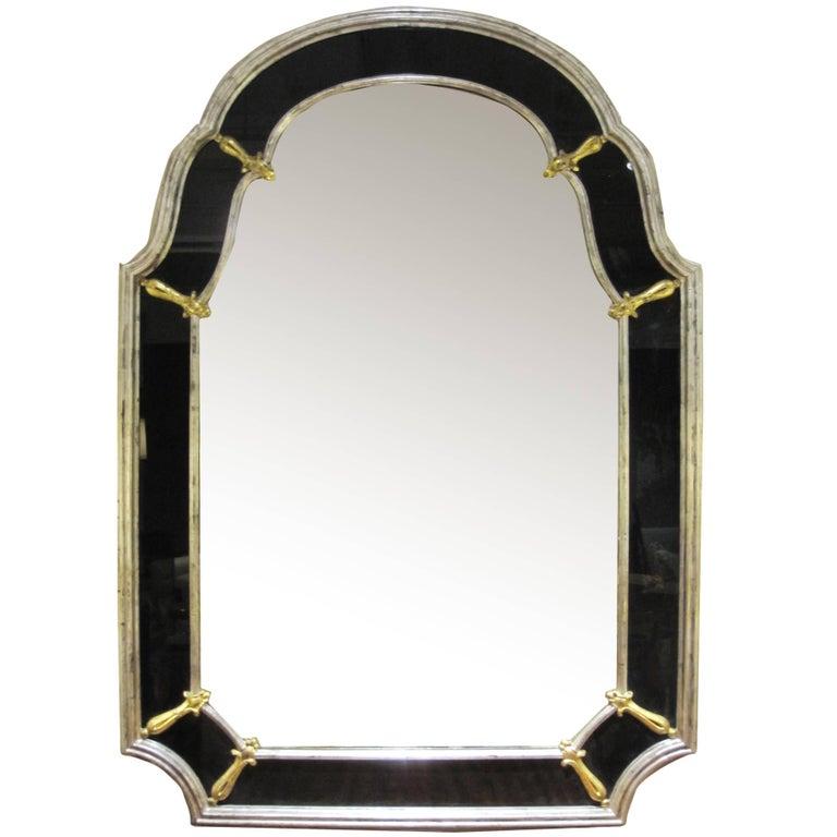 Glamorous American Hollywood Regency Silver Giltwood Mirror W Black Glass Border