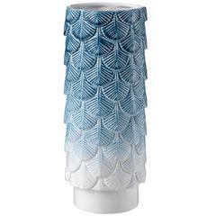 White and Blue Plumage Vase