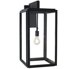 Streamline Contemporary Exterior Arm Mount, Hand Forged Wrought Iron Lantern