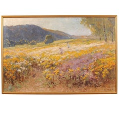 Framed Oil on Canvas Impressionist Style Landscape Painting, 19th Century