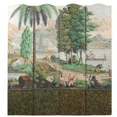 Early 20th Century French Zuber Style Hand-Painted Landscape Folding Screen