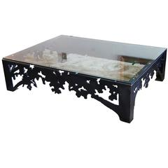 Metal and Glass Coffee Table Made by Andrea Kovel, Esque Studios