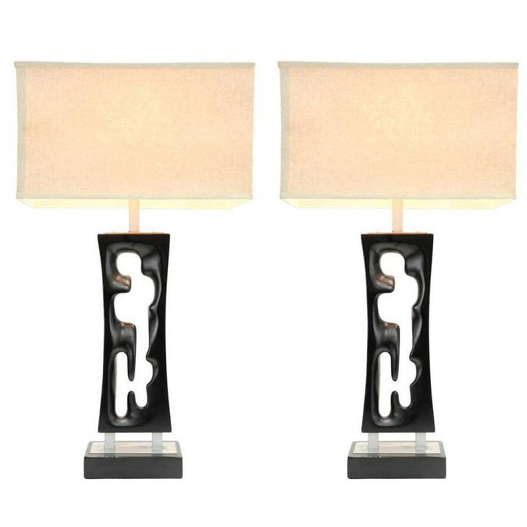 Pair of Elegant Hand-Carved Lamps by 20th Century Design Studio