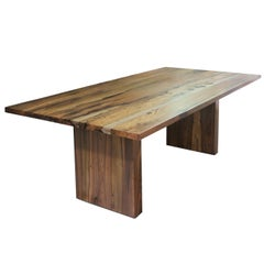 Exotic Wood Twin Pedestal Modern Minimal Dining Table from Costantini, Andre