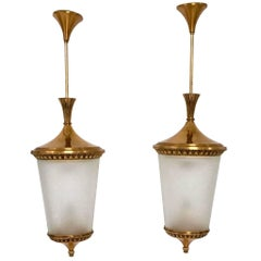 Pair of Brass and Etched Glass Pendants ascribable to Torlasco for Lumi, 1950s