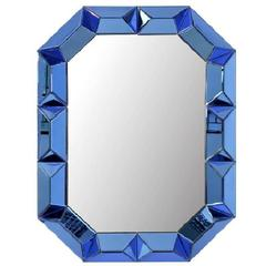 Rare Large Blue and Clear Hollywood Venetian Style Cubed Glass Mirror