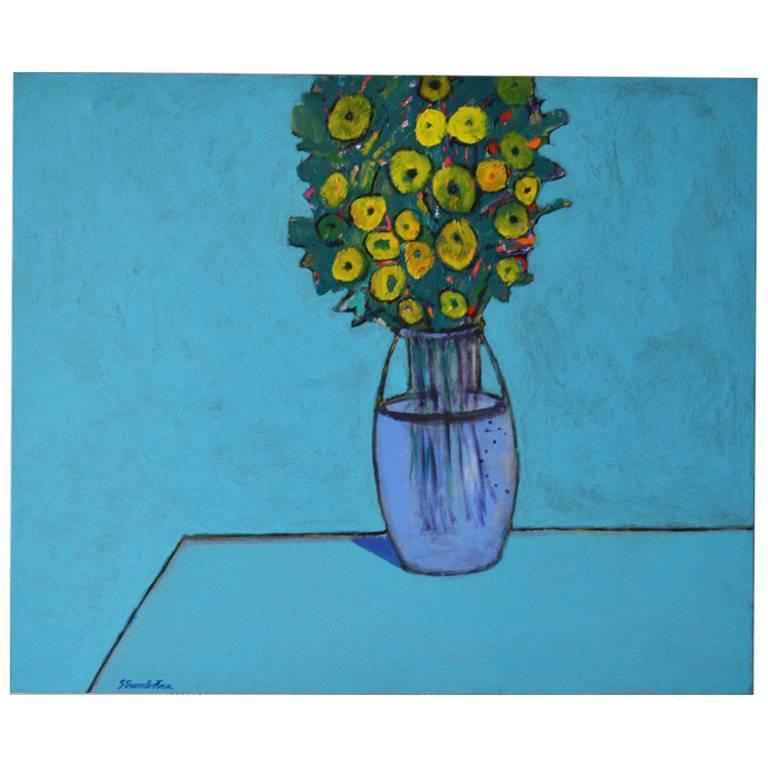 "James Strombotne ""Blue Bouquet"" acrylic on canvas painting"