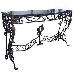 Early 20th Century Iron Console with Marble Top