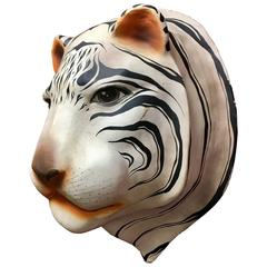Unique Signed Large White Siberian Tiger Head Made of Paper Mache