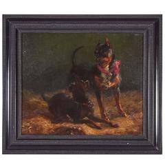 Charles Gustave Parquet Oil on Canvas Pair of Dogs