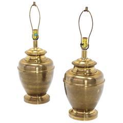 Pair of Vase Bullet Shape Brass Bases Mid Century Modern Table Lamps