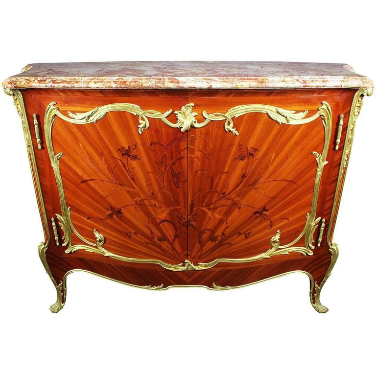 french 19th century louis xv style ormolu mounted marquetry meuble d 39 appui for sale at 1stdibs. Black Bedroom Furniture Sets. Home Design Ideas