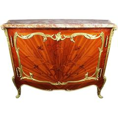 French 19th Century Louis XV Style Ormolu Mounted Marquetry Meuble D'appui