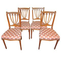 Four 19th Century Hepplewhite Satinwood Chairs