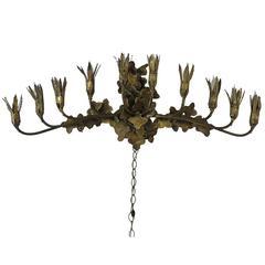 Brutalist Brass Tom Greene Ten-Light Wall Light Fixture