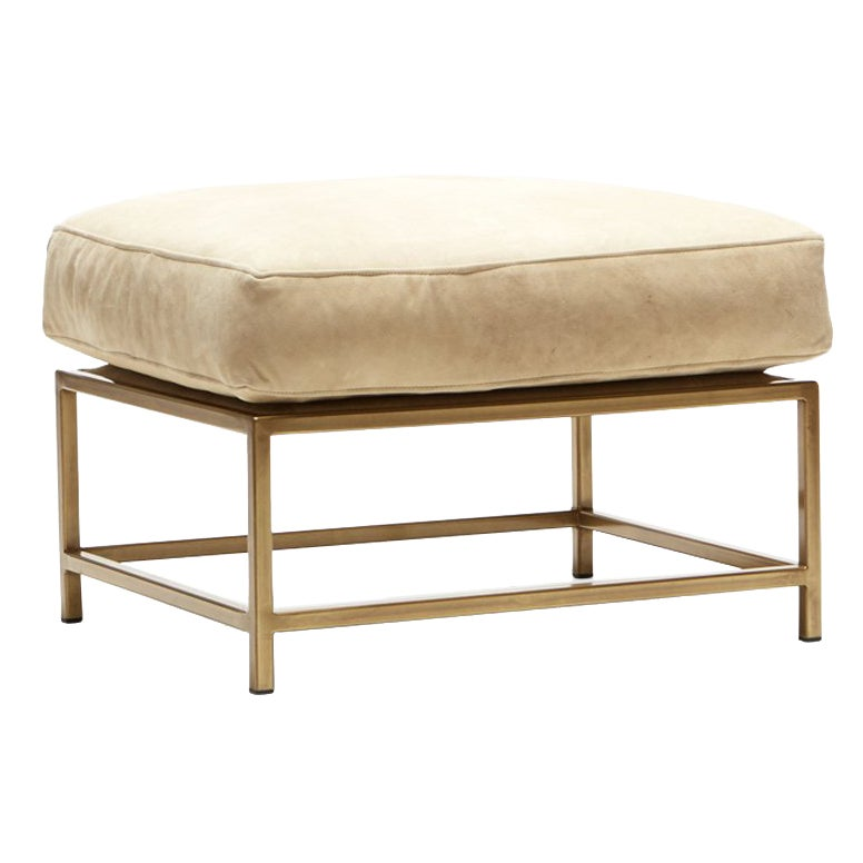 Tan Nubuck Leather and Antique Brass Ottoman