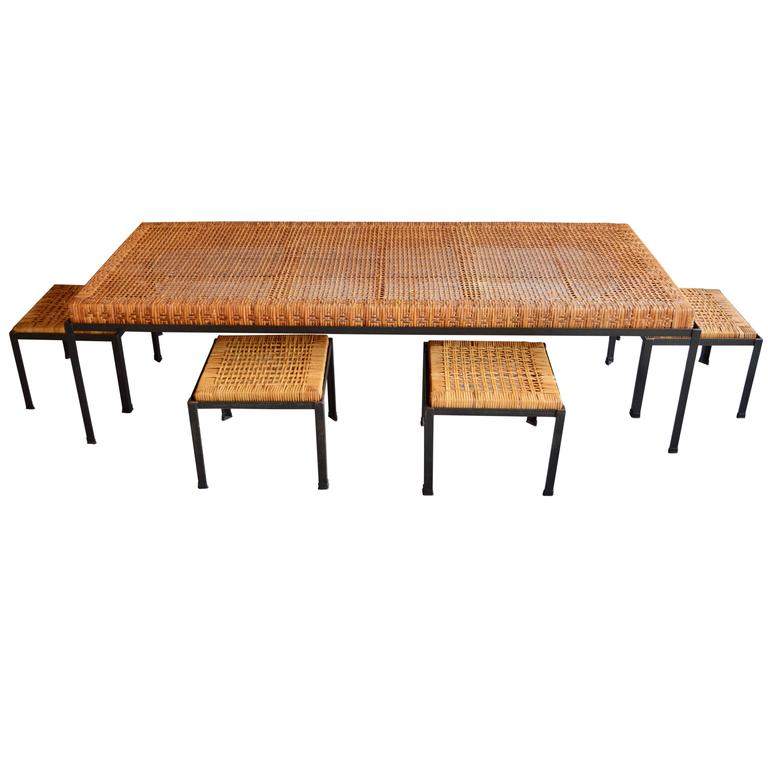 Rare Low Danny Ho Fong Table And Nesting Stools Or Coffee Table At 1stdibs