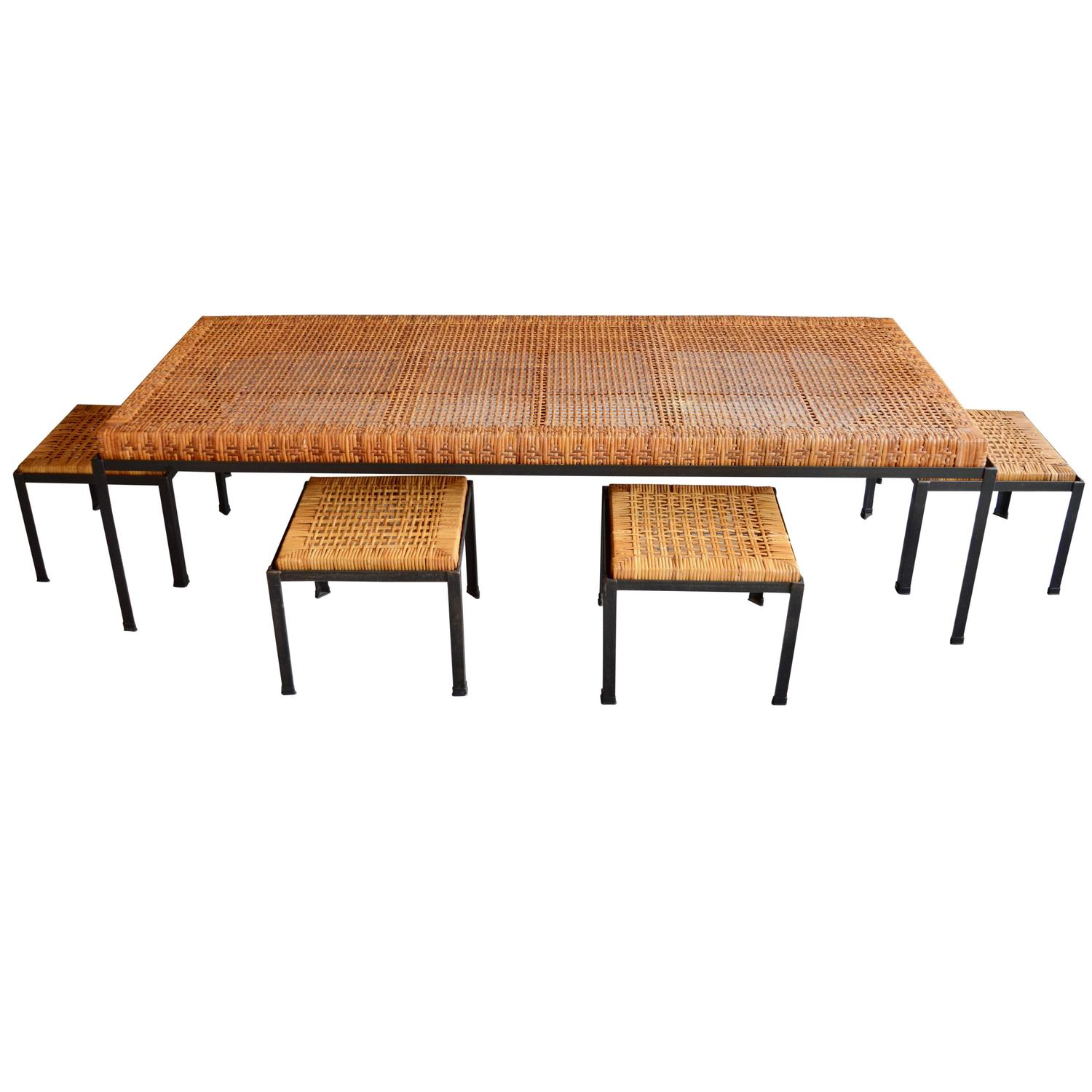 Rare Low Danny Ho Fong Table and Nesting Stools or Coffee Table at