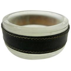 Jacques Adnet Leather and Glass Ashtray or Catchall