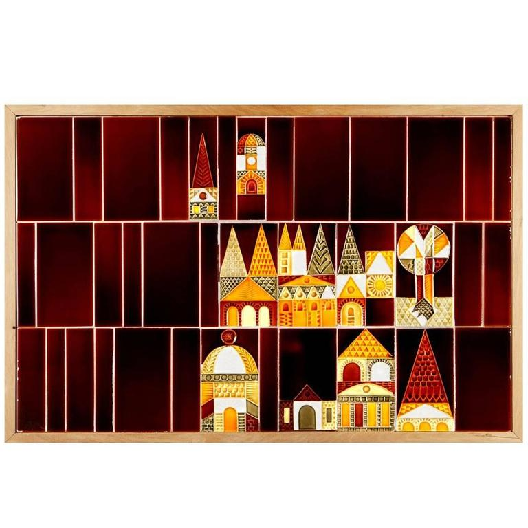 Le village ceramic mural by roger capron for sale at 1stdibs for Ceramic mural making