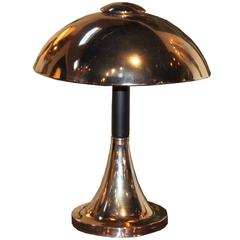 French Chrome Deco Lamp with Dome Shade