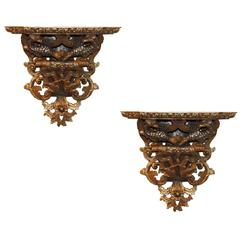 Pair of Italian Gold and Mica Leaf Brackets with Dragon Carvings