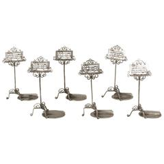 Six Silver Musical Stand Place Card Holders