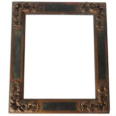 18th Century Polychrome Wood Frame