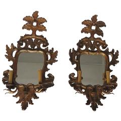 19th Century Pair Giltwood Girandole Mirrors
