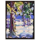 """""""Snow Scene in Purple and White, """"Gorgeous, Color-Drenched Painting, 1930s"""